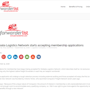 Globalia Logistics Network starts accepting applications – FORWARDER LIST