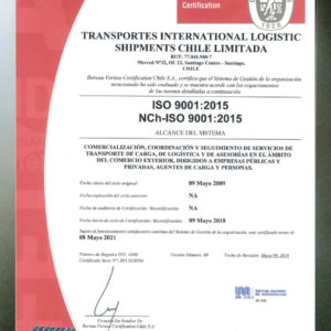 Globalia Santiago, Chile, obtains the ISO 9001:2015 Certification