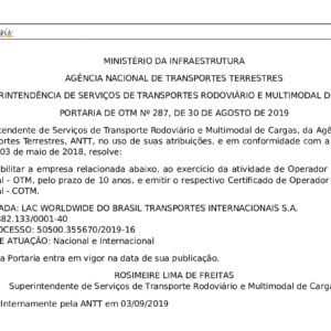 Globalia Itajai/Sao Paulo obtains an esteemed certification from ANTT- National Agency of Land Transportation in Brazil