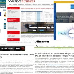 FreightViewer's announcement – Globalia's TMS – about the partnership with Shipco Consolidator covered by several logistics magazines